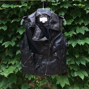 Black Faux Leather Moto Vest